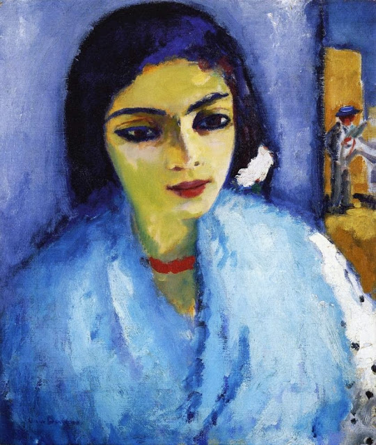 Kees Van Dongen - Woman in Blue with Red Necklace