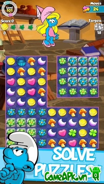 Smurfette's Magic Match v1.2.2 hack full tiền cho Android