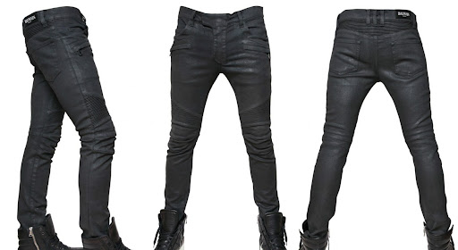 BALMAIN - 17CM COLOURED DENIM BIKER JEANS