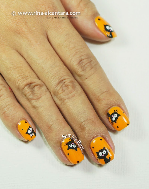 Black Cats Nail Art for Halloween