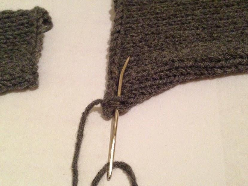 Starting mattress stitch on left front.