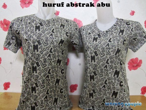 all size, cotton combed, Kaos Couple, Kaos Couple Murah, murah, Abu-Abu, huruf abstrak, warna,