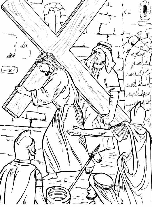 Jesús es ayudado a cargar la cruz para colorear