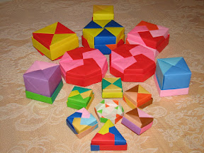 """Origami Boxes (upside down) from Tomoko Fuse's """"Origami Boxes""""."""