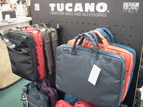 Display of Tucano Laptop Bags available in-store