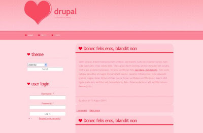 Free Drupal Light Valentine Pink Theme Template