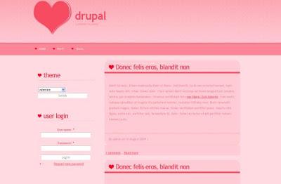 Free Drupal Light Valentine Pink Theme Template