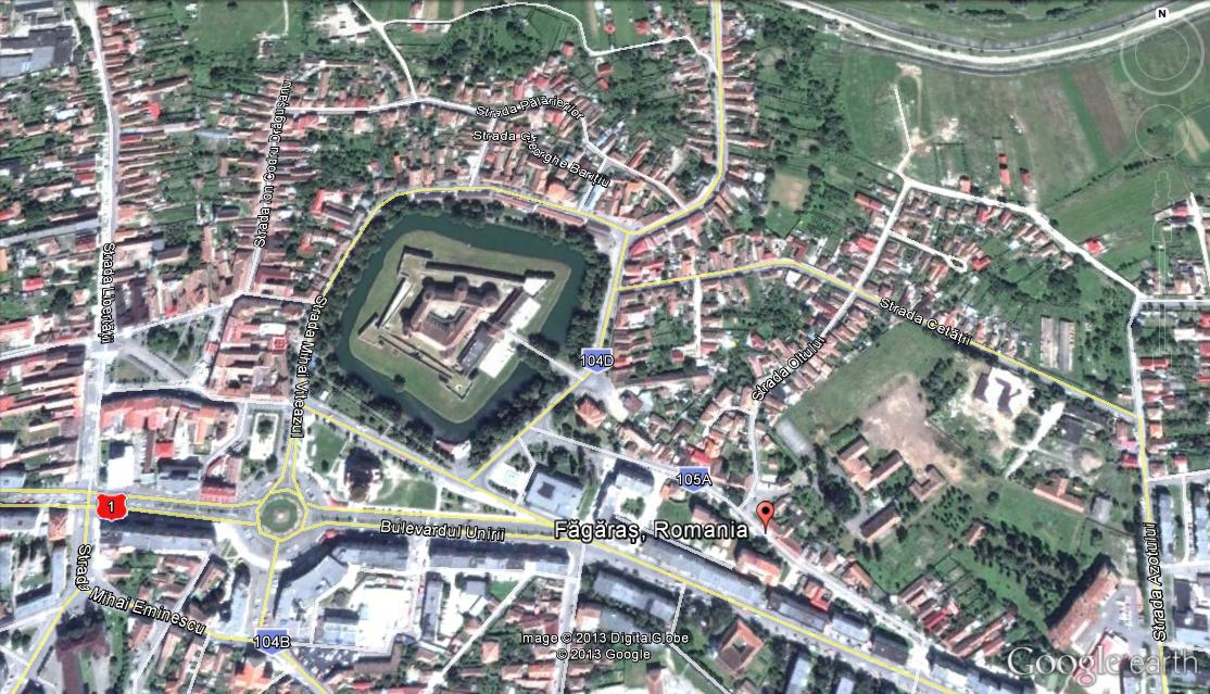 cetatea fagaras vedere din satelit