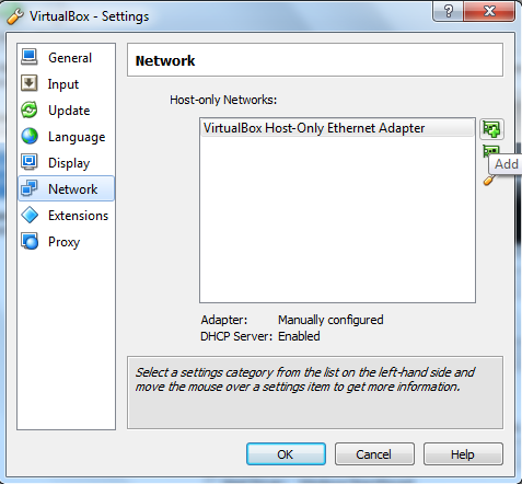 add network virtual box