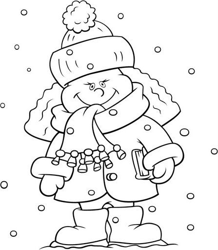 Kid in the snow coloring pages