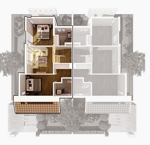 Biệt thự song lập Ecopark - mặt bằng tầng 2