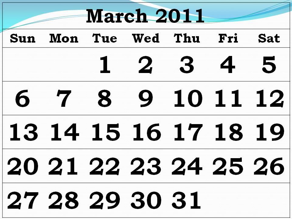 calendar 2011 template march. 2011 Calendar March