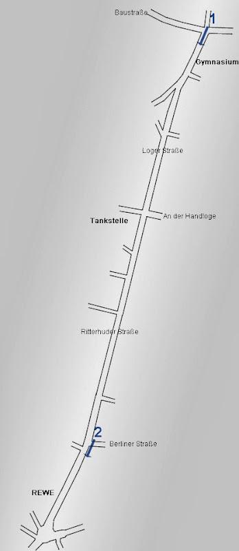 Radwegskizze Loger Str. / Ritterhuder Str. in Osterholz-Scharmbeck