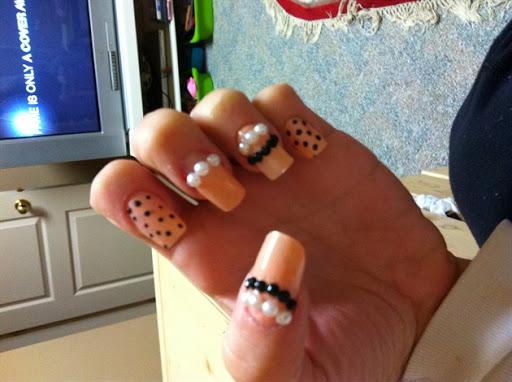 Skin tone polka dots with beads