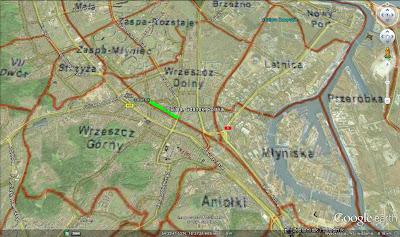 Zielonym kolorem zaznaczono ulicę Białą