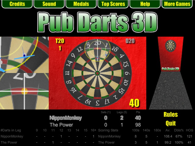 Pub Darts 3D - Double Finish in 501 legs
