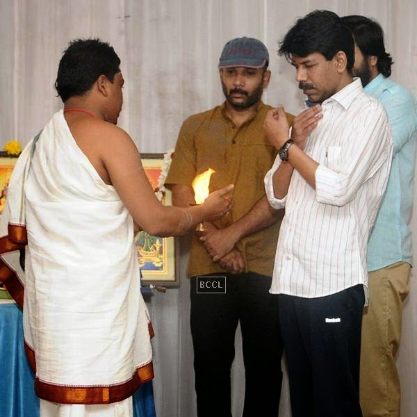 Bala during the movie pooja of Thaarai Thappattai, held in Chennai.