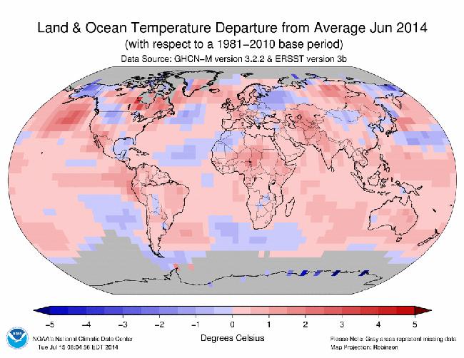 Informe climático de la Tierra. Junio de 2014 el más cálido desde 1880