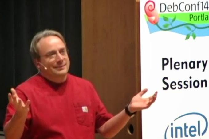 Linus Torvalds en la DebConf14