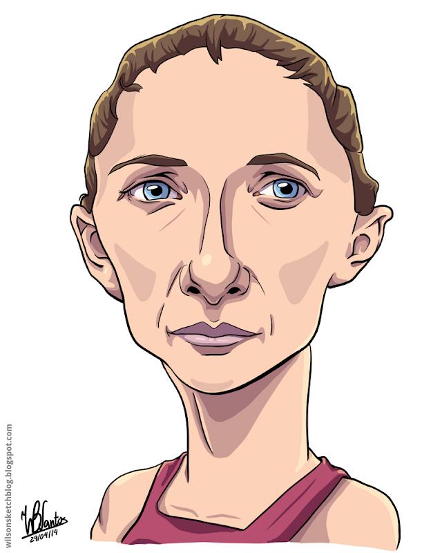 Cartoon caricature of Sara Errani.