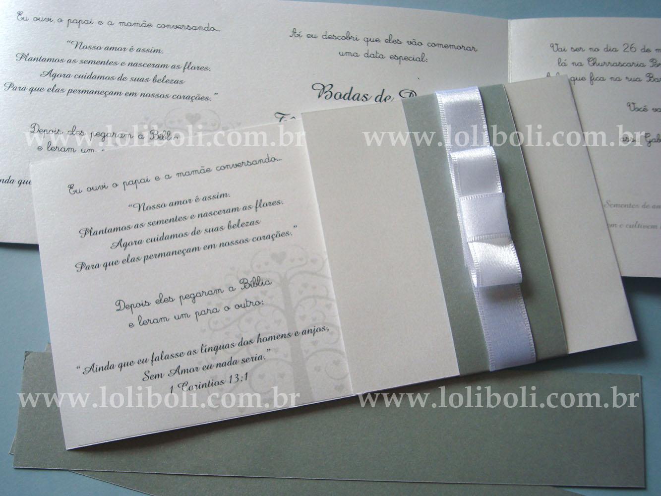 Loliboli Personalizados Convite De Bodas De Prata Tania E Reinaldo