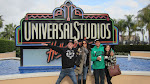 The gang at the famous Universal sign