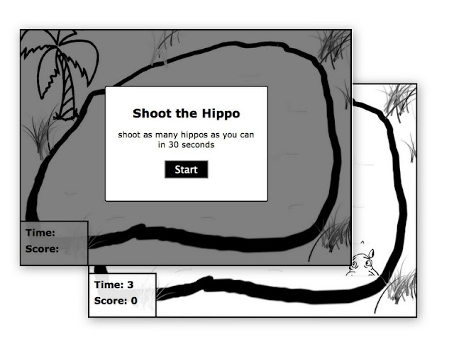 Shoot the hippo game screenshot