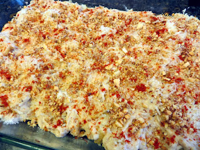 Cauliflower with Manchego and Almond Sauce Recipe - about to go into the oven