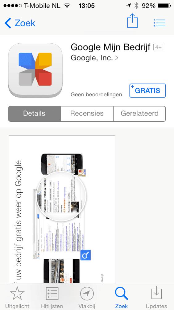 Google Mijn Bedrijf app voor iOS