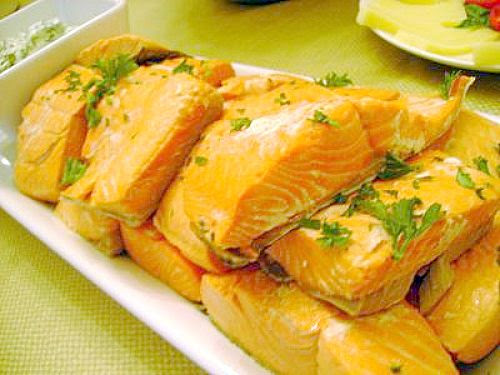 Chilled Wine Poached Salmon Steaks