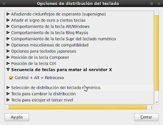 Imagen de la activación de Ctrl + Alt + Backspace en Ubuntu 10.04