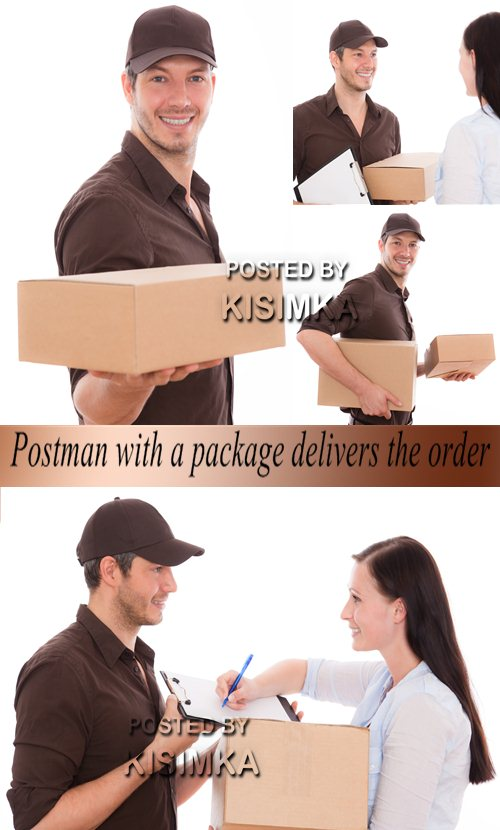 Stock Photo: Postman with a package delivers the order
