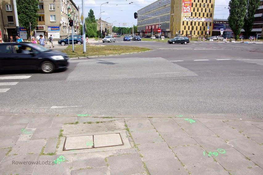Markery wskazuja gdzie po północnej stronie skrzyżowania będzie przejazd dla rowerów.
