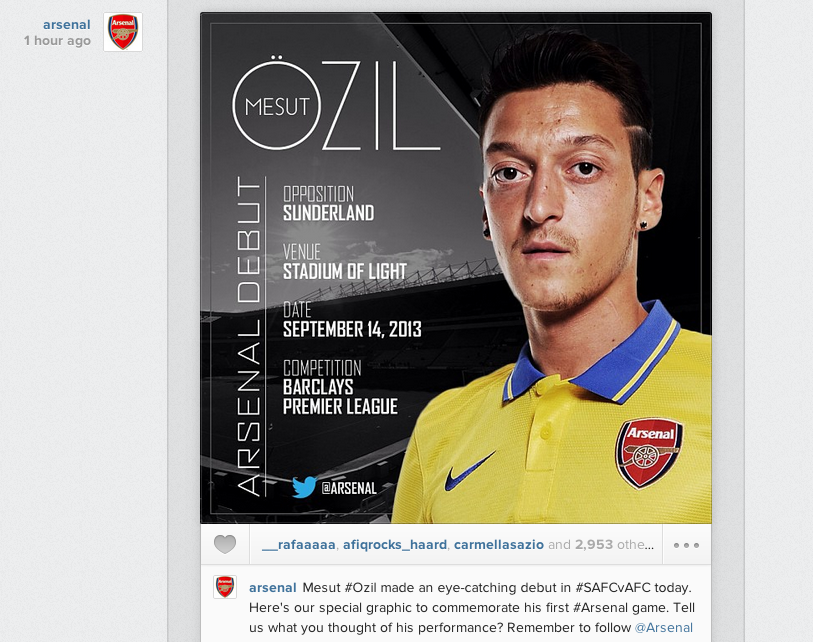Arsenal post commemorative picture on Instagram marking Mesut Ozils Arsenal debut