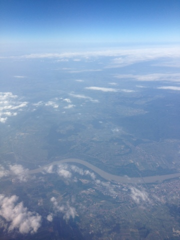 Picture of the Danube river, seen from an Austrian Airlines Fokker 100.