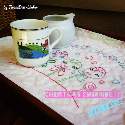 Sweet Christmas embroidery tray cover tutorial