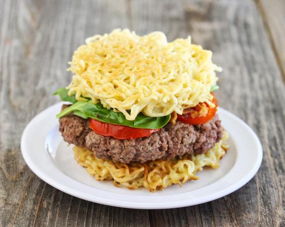 photo of a ramen burger on a plate