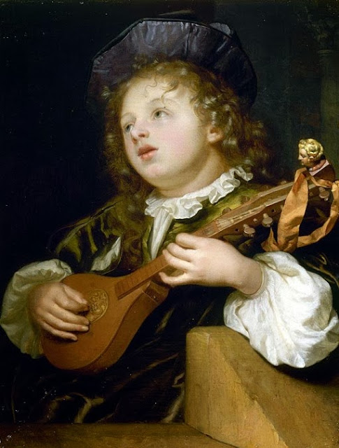 Godfried Schalcken - A Boy Playing a Lute