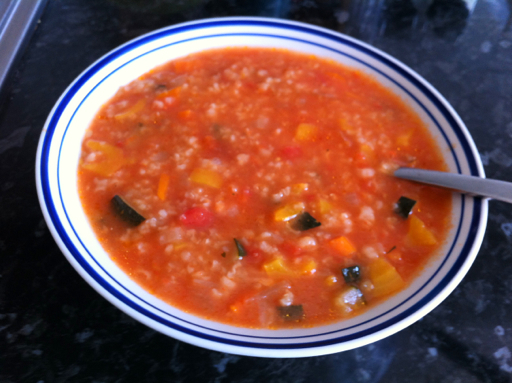 Romanian tomato soup with rice