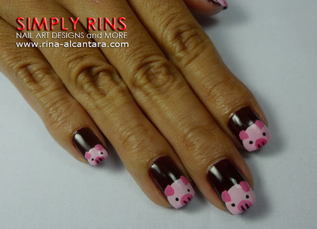 Little Pink Pigs Nail Art Design 02
