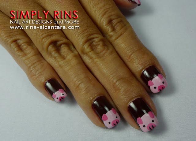 Little Pink Pigs Nail Art Design 02