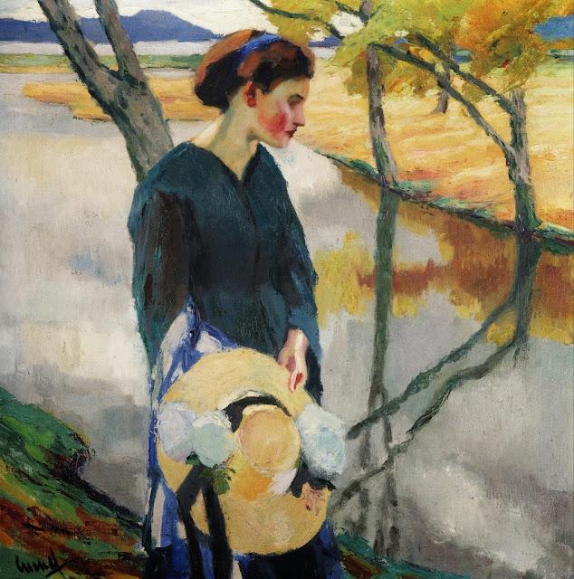 Edward Cucuel - Girl with a straw hat