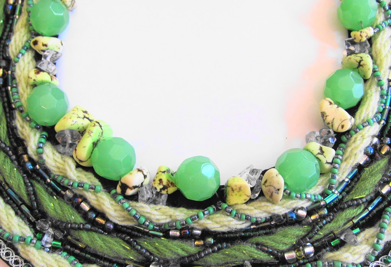 Glorious Green Bib Necklace by Georgean Beauty