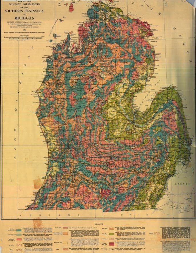 Surface formations of the southern peninsula of michigan 1924 this map contains the surface formations of southern peninsula publicscrutiny Image collections