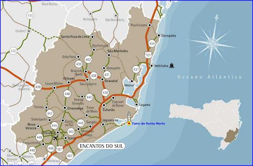 Mapa da região do Litoral Sul de Santa Catarina