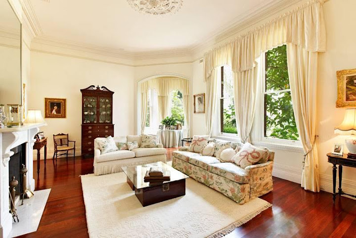 Cosy Federation sitting room at 59 Kensington Road SOUTH YARRA