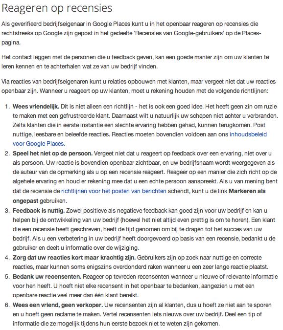 Reageren op recensies volgens Google