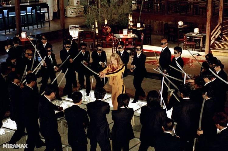 Imagen del rodaje de Kill Bill, con Uma Thurman