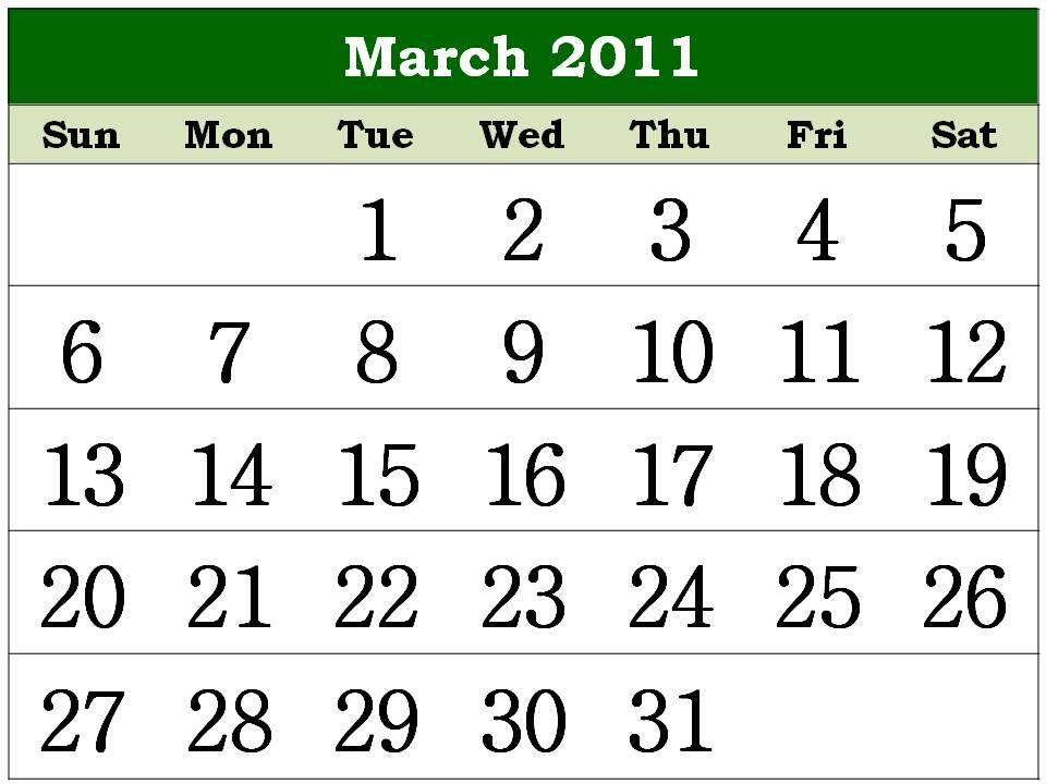monthly calendar printable 2011. Free Homemade Calendar 2011