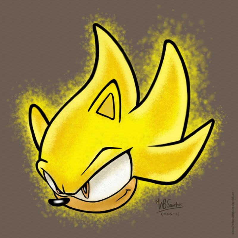 Drawing of Super Sonic, using MyPaint.